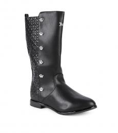 Juicy Couture Girls Black Crown-Detailed Boots