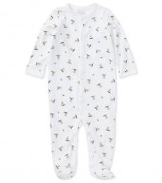 Baby Boys White Printed Coverall
