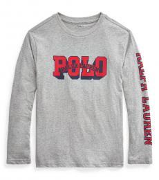 Ralph Lauren Boys Grey Logo Long Sleeve T-Shirt