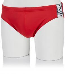 Emporio Armani Red Side Logo Swim Slip