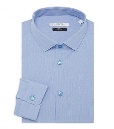 Versace Collection Blue Trend-Fit Dot Dress Shirt