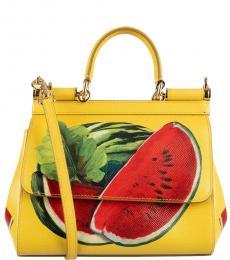 Dolce & Gabbana Yellow Red Watermelon Print Mini Satchel