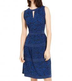Michael Kors Blue Printed Midi Dress