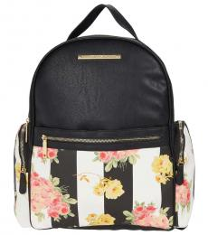 Betsey Johnson Black Floral Print Large Backpack