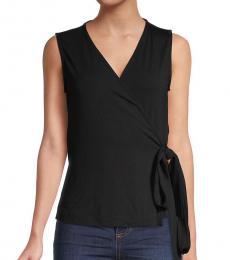 Diane Von Furstenberg Black Wrap-Front Sleeveless Top