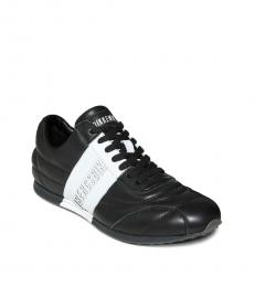Bikkembergs Black White Leather Sneakers