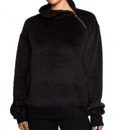 Black Funnel Neck Asymmetric Sweater