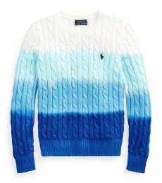 Ralph Lauren Girls Ocean Blue Dip-Dyed Sweater