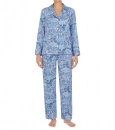 Ralph Lauren Blue Pais Printed Pajamas Set