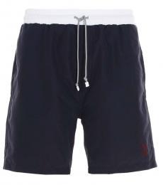 Brunello Cucinelli Navy Blue Logo Swim Shorts
