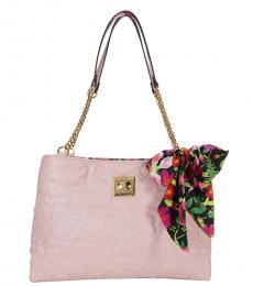 Betsey Johnson Light Pink Heart Quilted Medium Shoulder Bag