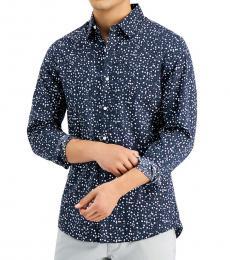 Michael Kors Navy Blue Slim-Fit Dot-Print Shirt