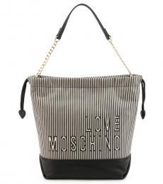 Love Moschino Black Striped Medium Bucket Bag