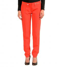 Versace Collection Orange Zipped Casual Pants