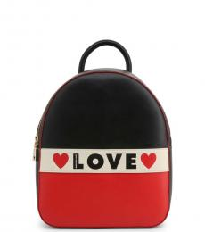 Love Moschino Black Logo Stripe Small Backpack