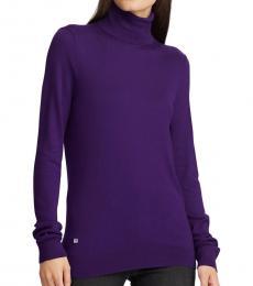 Ralph Lauren Dark Purple Ribbed Silk-Blend Turtleneck Sweater
