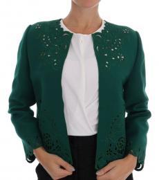 Dolce & Gabbana Green Cutout Floral Jacket