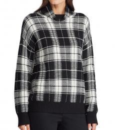 Ralph Lauren BlackWhite Plaid Wool-Blend Sweater