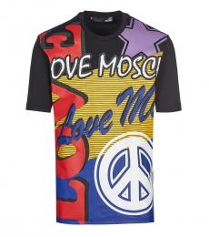 Love Moschino Black Allover Logo T-Shirt