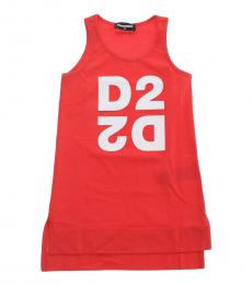 Dsquared2 Girls Red Cotton Tank Top