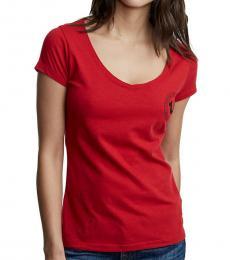 True Religion Ruby Red V-Neck Logo Tee