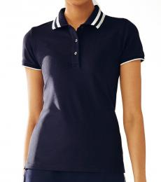 Tory Burch Navy Blue Pique Pleated-Collar Polo