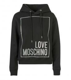 Love Moschino Black Hooded Sweatshirt