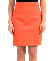 Versace Collection Orange Solid Pencil Skirt