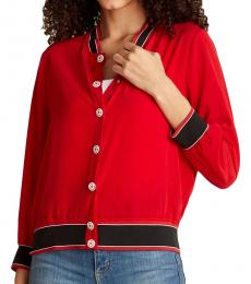 Love Moschino Red Snap-Button Bomber Jacket