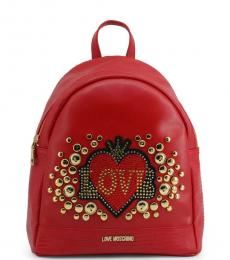 Love Moschino Red Embellished Medium Backpack
