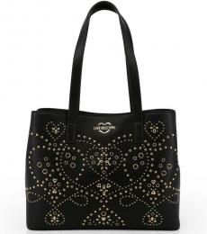 Love Moschino Black Rivets Large Tote
