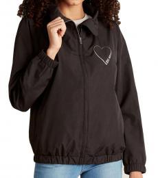 Love Moschino Black Drawcord Collar Full-Zip Jacket