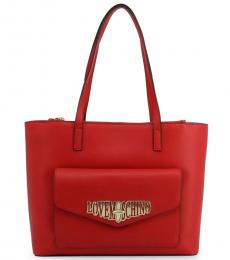 Love Moschino Red Turnlock Pocket Large Tote