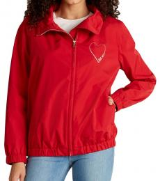 Love Moschino Red Drawcord Collar Full-Zip Jacket