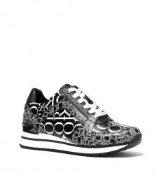 Michael Kors Black White Newsprint Sneakers