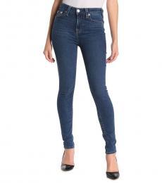 True Religion Blue High-Rise Flap Skinny Jeans