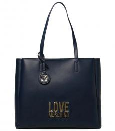 Love Moschino Navy Blue Logo Large Tote
