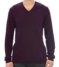 Purple Rayon Logo Logo V-Neck Sweater