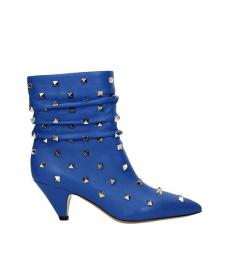Blue Studded Leather Booties