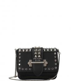 Prada Black Cahier Studded Mini Shoulder Bag
