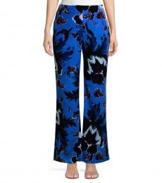 Diane Von Furstenberg Blue Erica Floral Velvet Pants