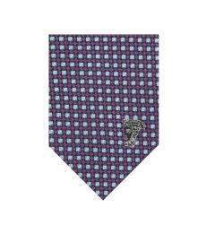 Versace Violet Printed Silk Tie