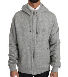 Dolce & Gabbana Grey Crown Logo Hooded Sweatshirt