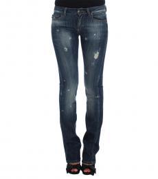 Blue Torn Cotton Stretch Jeans
