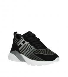 Hogan Black Silver Active Sneakers