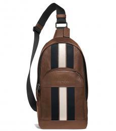 Coach Saddle Brown Houston Stripe Large Sling Pack