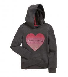 Calvin Klein Girls Grey Glitter Heart Long Sleeve Hoodie