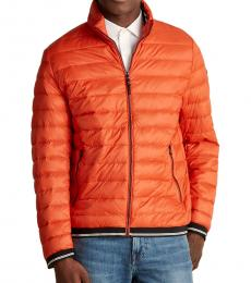 Orange Hooded Packable Down Jacket