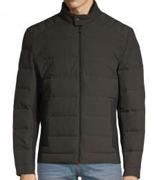 Dark Olive Full-Zip Down Puffer Jacket