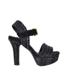 Black Woven Leather Heels